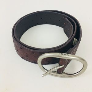 Fossil Women's Brown Leather Tooled Belt Size S